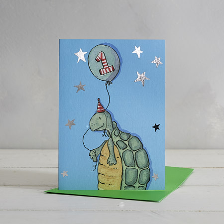 Buy Happy Birthday Boys Age 1 Turtle Greetings Card from Helen Wiseman Illustration