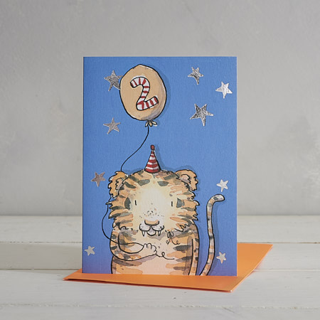 Buy Happy Birthday Boys Age 2 Tiger Greetings Card from Helen Wiseman Illustration