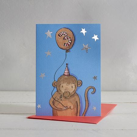 Happy Birthday Boys Age 3 Monkey Greetings Card