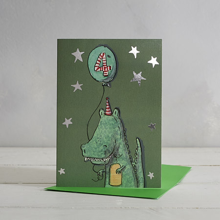 Happy Birthday Boys Age 4 Crocodile Greetings Card