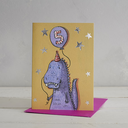 Happy Birthday Boys Age 5 T-Rex Greetings Card