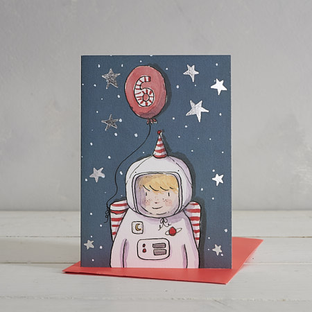 Happy Birthday Boys Age 6 Astronaut Greetings Card
