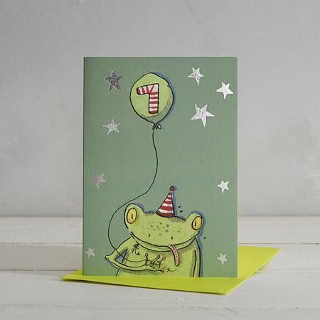Buy Happy Birthday Boys Age 7 Frog Greetings Card from Helen Wiseman Illustration