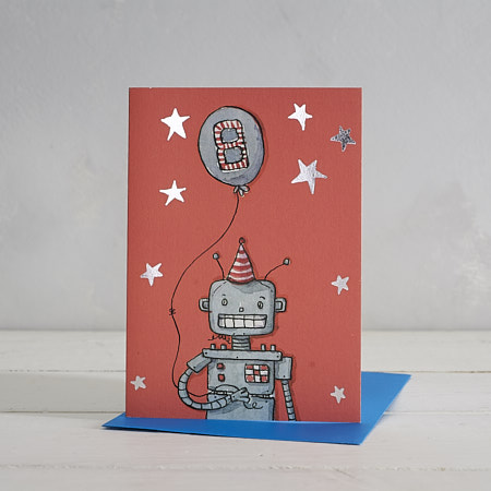 Buy Happy Birthday Boys Age 8 Robot Greetings Card from Helen Wiseman Illustration