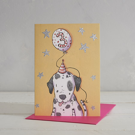 Happy Birthday Girls Age 3 Dalmatian Greetings Card