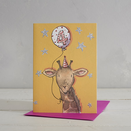Happy Birthday Girls Age 4 Giraffe Greetings Card