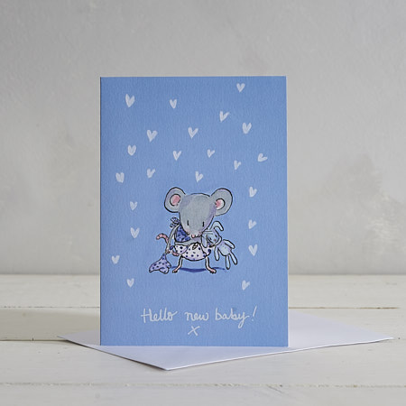Buy Hello New Baby (Boy) Greetings Card from Helen Wiseman Illustration
