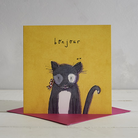 Buy Bonjour Black Cat Greetings Card from Helen Wiseman Illustration