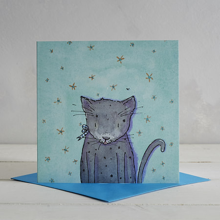 Buy Grey Cat Greetings Card 'Bertie' from Helen Wiseman Illustration