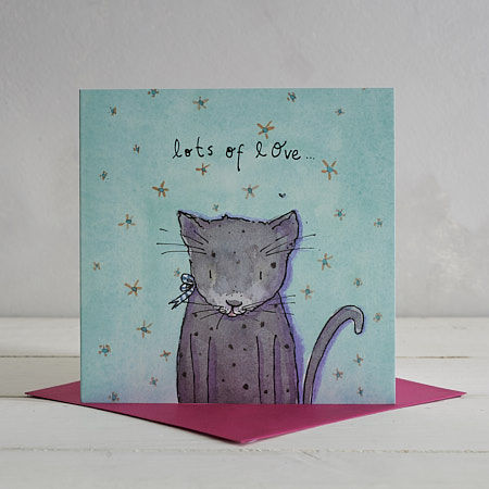 Buy Lots of Love Cat Greetings Card from Helen Wiseman Illustration