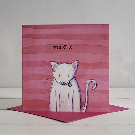 Buy Meow Cat Greetings Card from Helen Wiseman Illustration