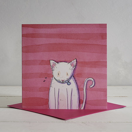 Buy White Cat Greetings Card 'Jeff' from Helen Wiseman Illustration
