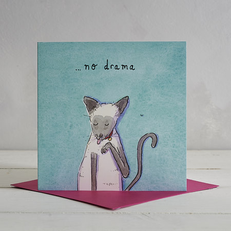 No Drama Cat Greetings Card