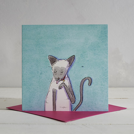 Buy Siamese Cat Greetings Card 'Selina' from Helen Wiseman Illustration
