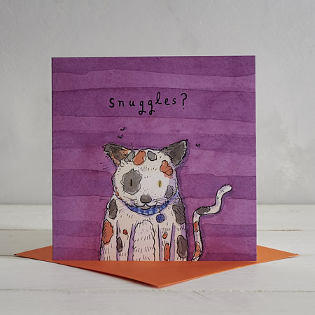 Buy Snuggly Cat Greetings Card from Helen Wiseman Illustration