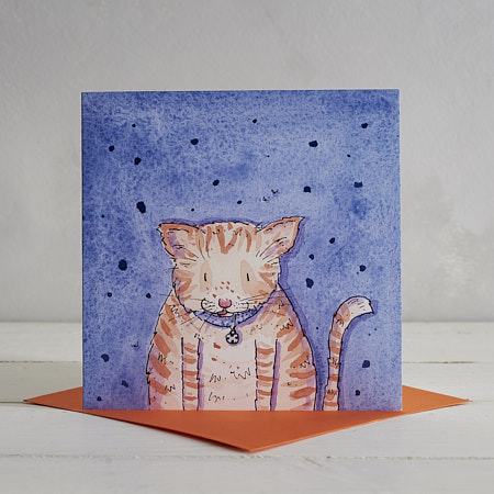 Buy Fat Ginger Cat Greetings Card 'Marmalade' from Helen Wiseman Illustration