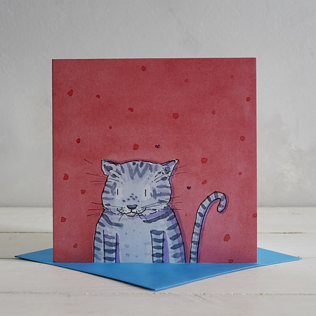 Buy Grey Stripy Cat Greetings Card 'Edgar' from Helen Wiseman Illustration