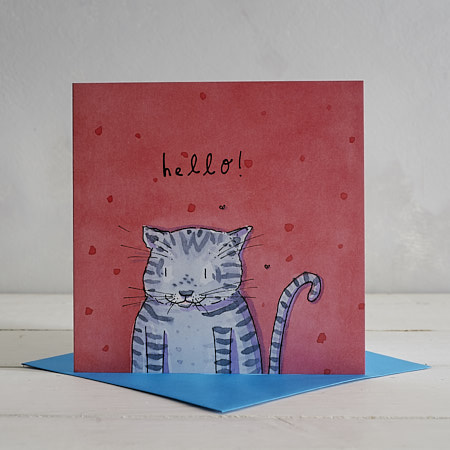 Buy Hello Cat Greetings Card from Helen Wiseman Illustration