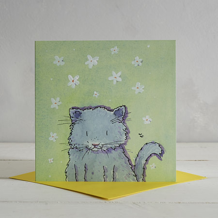 Buy Fluffy Grey Cat Greetings Card 'Florence' from Helen Wiseman Illustration