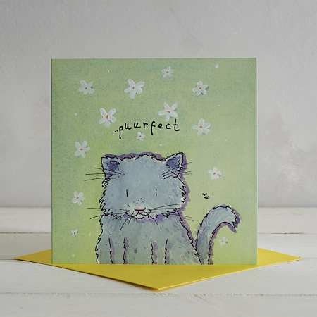 Buy Purrfect Fluffy Cat Greetings Card from Helen Wiseman Illustration