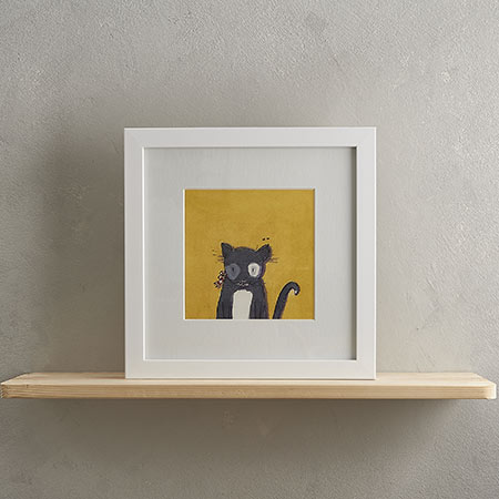 Buy Black Cat Print 'Sylvester' from Helen Wiseman Illustration