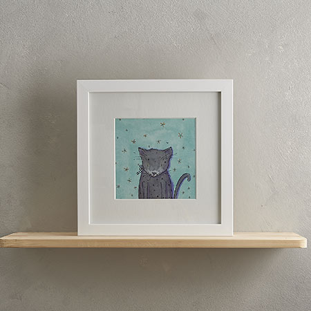 Buy Grey Cat Print 'Bertie' from Helen Wiseman Illustration