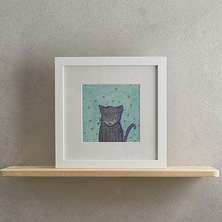 Grey Cat Print 'Bertie'
