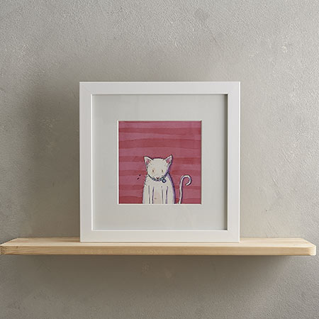 Buy White Cat Print 'Jeff' from Helen Wiseman Illustration