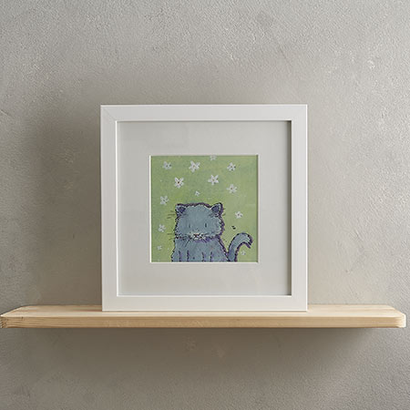 Buy Fluffy grey Cat Print 'Florence' from Helen Wiseman Illustration