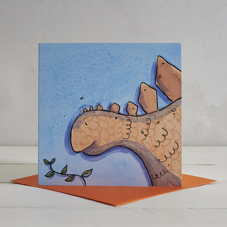 Buy Stegosaurus Greetings Card 'Stompy' from Helen Wiseman Illustration