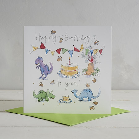 Buy Happy Birthday Dinos Greetings Card from Helen Wiseman Illustration