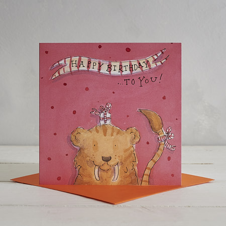 Buy Happy Birthday Sabre Tooth Tiger Greetings Card from Helen Wiseman Illustration