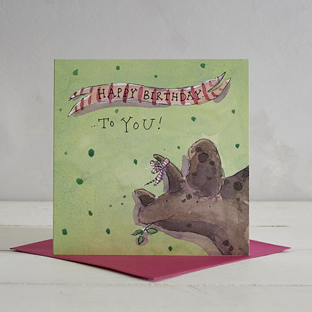 Buy  Happy Birthday Dotty Triceratops Greetings Card from Helen Wiseman Illustration