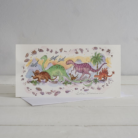 Buy Marching Dinosaurs Greetings Card from Helen Wiseman Illustration