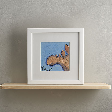 Buy Stegosaurus Print with Frame 'Stompy' from Helen Wiseman Illustration