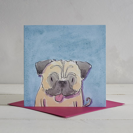 Buy Pug Dog Greetings Card 'Ronnie' from Helen Wiseman Illustration