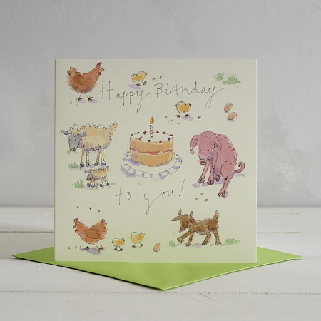 Buy Happy Birthday Farmyard Greetings Card from Helen Wiseman Illustration