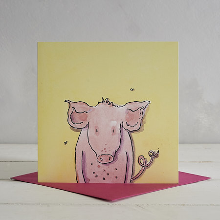 Pig Greetings Card 'Patricia'