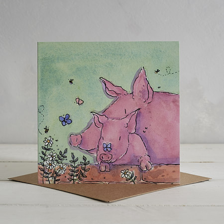 Buy Piggy Family Greetings Card 'Pippa & Poppy' from Helen Wiseman Illustration