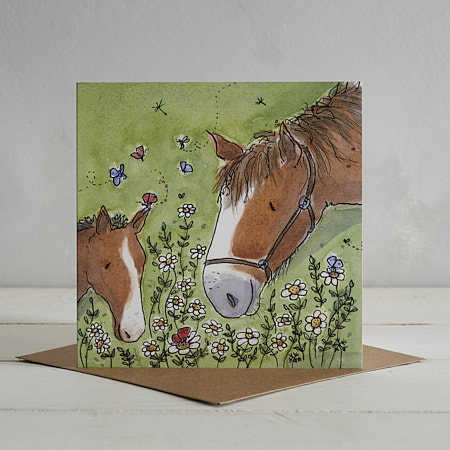 Buy Horsey Family Greetings Card 'Ginger & Spice' from Helen Wiseman Illustration