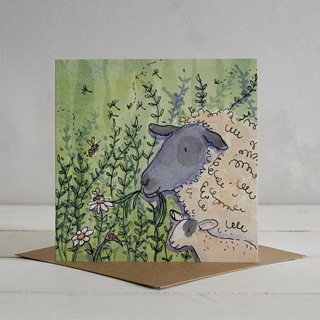 Buy Sheep Family Greetings Card 'Betty & Ted' from Helen Wiseman Illustration
