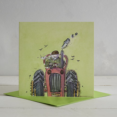 Buy Tractor Greetings Card 'Farmer Jack & Trevor Tractor' from Helen Wiseman Illustration