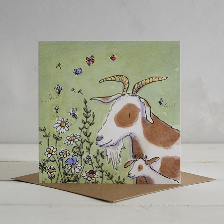 Buy Goat Family Greetings Card 'Gertie & Pip' from Helen Wiseman Illustration