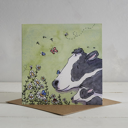 Cow Family Greetings Card 'Cowslip & Daisy'