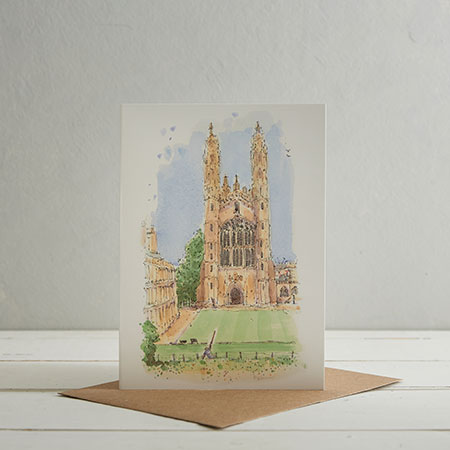 Buy Kings College, Cambridge Greetings Card from Helen Wiseman Illustration