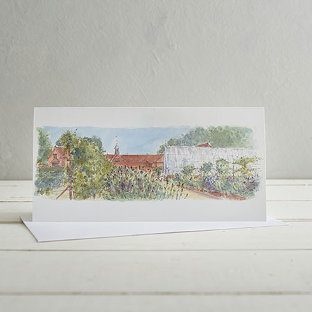 Buy Kitchen Garden Greenhouse, Audley End Greetings Card from Helen Wiseman Illustration