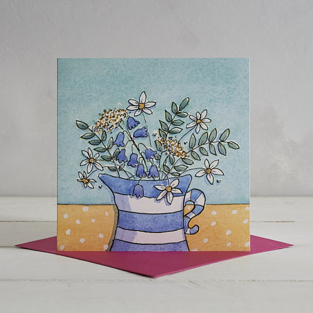 Buy Stripy Jug and Yellow Cloth Greetings Card from Helen Wiseman Illustration