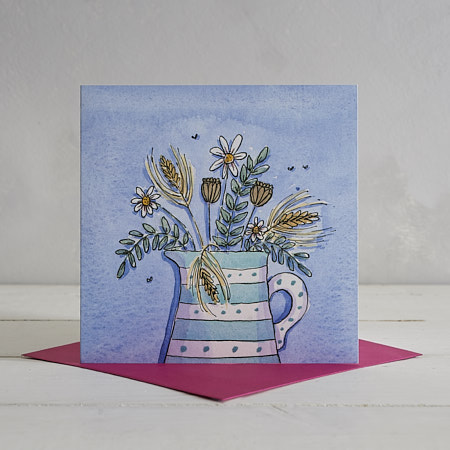 Buy Stripes and Spots Jug Greetings Card from Helen Wiseman Illustration