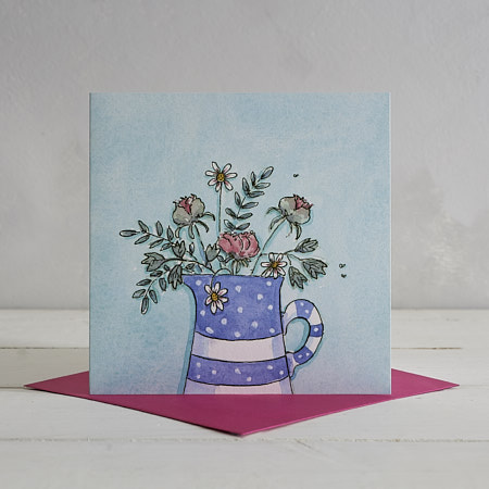 Buy Spots and Stripes Jug Greetings Card from Helen Wiseman Illustration