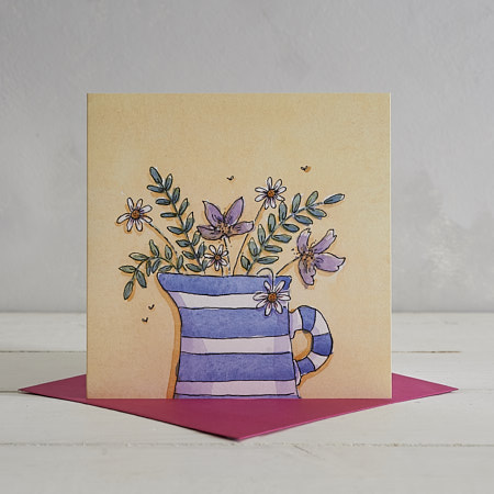 Buy Blue Stripy Jug Greetings Card from Helen Wiseman Illustration